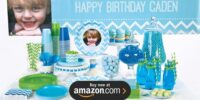 Chevron Blue Personalized Birthday Supplies