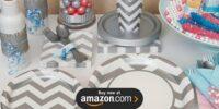 Chevron Silver Birthday Supplies