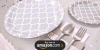 Medium Gray Quatrefoil Birthday Supplies