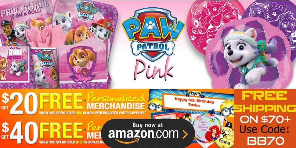 Paw Patrol Pink Birthday Supplies