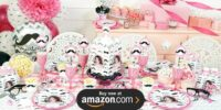 Pink Mustache Personalized Birthday Supplies